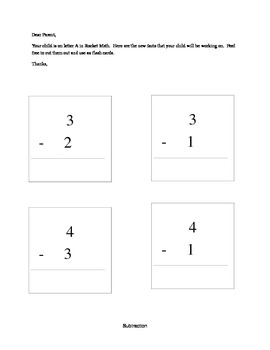 Rocket Math Subtraction Facts and Letter to Parents