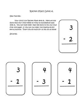 Rocket Math Subtraction Parent Letters