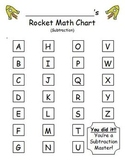 Rocket Math Subtraction - Progress Tracking Sheet and Flashcards