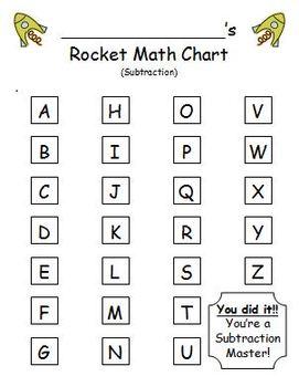 Rocket Math Subtraction - Progress Tracking Sheet and Flashcards