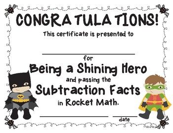 Rocket Math Super Hero Certificates