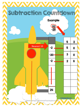 Subtraction Center: Rocket Theme C.C.S.S. aligned