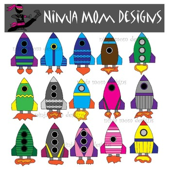 Rockets Clip Art in Color and Black Line