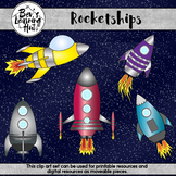 Rocketships Clip Art Set for printable and digital resources
