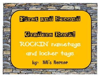 Rockin' 1st and 2nd Grade Nametags/Locker tags! Rock Themed Classroom