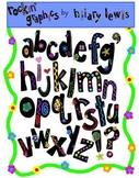 Rockin' Alphabet Clip Art - Black Letters