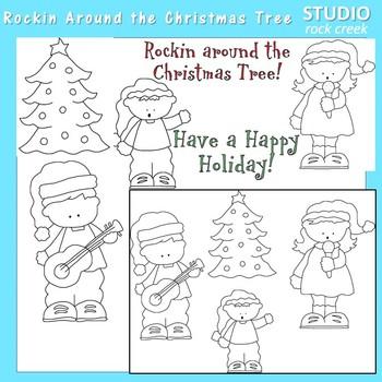 Rockin Around The Christmas Tree Line Art  C. Seslar