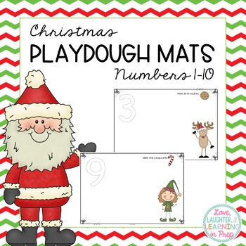 Rockin' Around the Playdough Tub! Christmas Themed Playdough Mats: Numbers 1-10