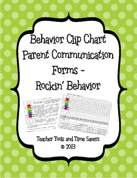 Rockin' Behavior 'Clip Chart' Behavior Tracker Parent Communication Forms