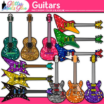 Glitter Guitar Clip Art {Electric and Acoustic Instruments for Music Teachers}