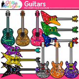 Glitter Guitar Clip Art | Electric and Acoustic Instruments for Music Teachers