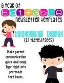Editable Newsletter Templates (12 included): Rockin' Kids Theme