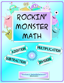 Rockin' Monster Math Addition Subtraction Multiplication Division Activities