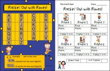 Rockin' Out with Rimes! ELA Game for practice of Onsets and Rimes!