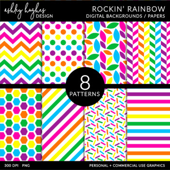 Rockin' Rainbow {12x12 Digital Papers for Commercial Use}