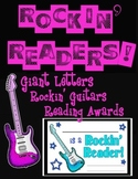 """Rockin' Readers!"" Bulletin Board Title, Guitars, Reading Awards"