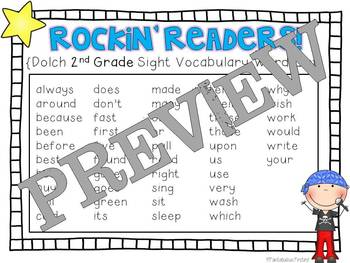 Rockin' Readers!  Dolch 2nd Grade Sight Vocabulary Flashcards
