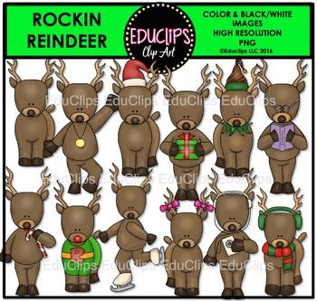 Rockin' Reindeer Clip Art {Educlips Clipart}