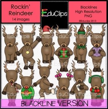 Rockin' Reindeer BLACKLINES {Educlips Clipart}