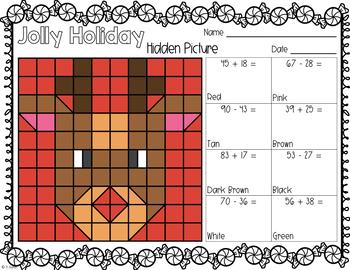 Rockin' Reindeer December Math Centers 2nd Grade CCSS