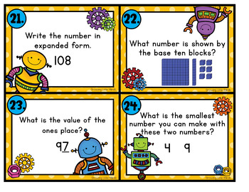 Rockin' Robot Place Value Scoot to the Tens Place