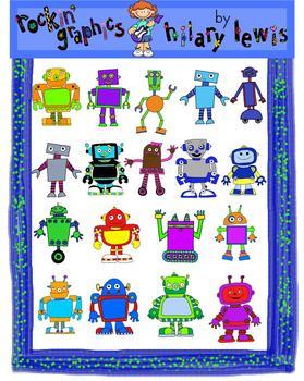 Rockin' Robots Clip Art for Teachers