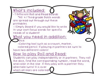 Rockin' Roll and Read {Third Grade Dolch Words}