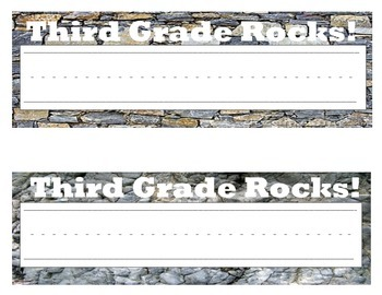 Rockin' Third & Fourth Grade Nametags/Locker tags!  Rock Themed Classroom
