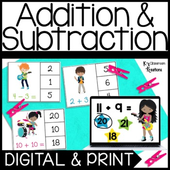Addition and Subtraction Clip Card Math Center