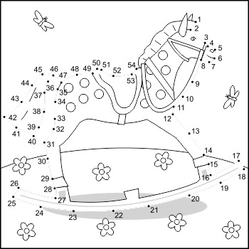 Rocking Horse Connect the Dots and Coloring Page, Commercial Use Allowed