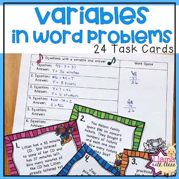 Word Problems with Variables Task Cards