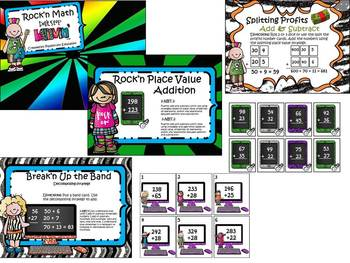 Rock'n Math Games!! (Place Value, Addition, Subtraction, Number Sense Games)