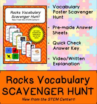 Rocks Vocabulary Scavenger Hunt Game