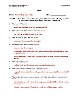 Rocks Article (Reading Level 2) Comprehension Worksheet