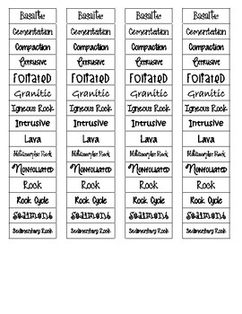 Rocks Cut-n-Paste Vocabulary