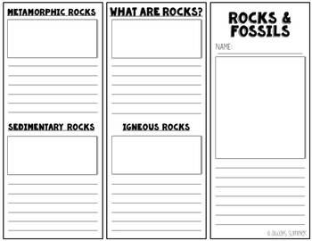 Rocks & Fossils Foldable