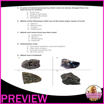 Rocks | Geology | Earth Science | 80 Questions | 4 Tests | 22 pages | Grade 7