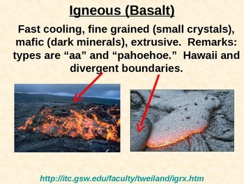 Rocks: IGNEOUS ROCK PowerPoint (Rock Type Summary for LAB Prep)