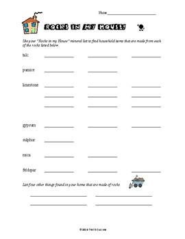 Rocks In My House Worksheet - How Rocks Are Used in Everyday Items