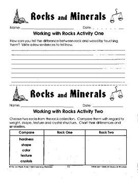 Rocks & Minerals 7 Hands-On Working with Rocks Activities