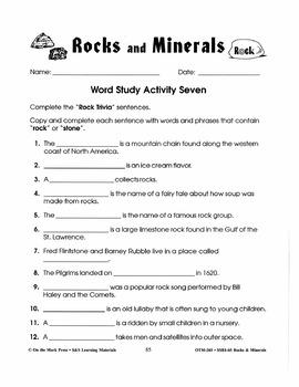 Rocks & Minerals:  7 Word Study Activities