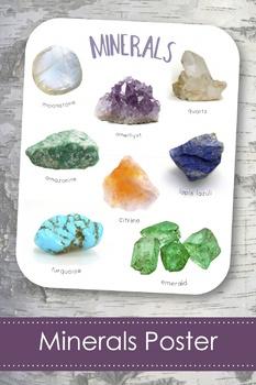 """Rocks & Minerals 8x10"""" Poster- Montessori"""