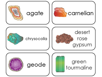 Rocks, Minerals, Crystals, and Stones Printable Flashcards. PreK-5th Geology.