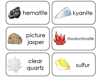 20 Rocks, Minerals, Crystals, and Stones Printable Flashcards. PreK-5th Geology.