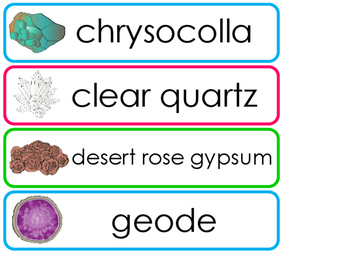 Rocks, Minerals, Cyrstals, and Stones Word Wall. PreK-Elementary Geology.