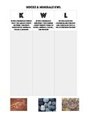 Rocks, Minerals & Fossils KWL Chart