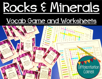 Rocks & Minerals Vocabulary Game and worksheets