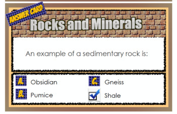 Rocks & Minerals Multiple Choice Question Cards - Test Prep PDF File 30 Cards