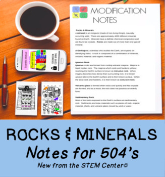 Rocks & Minerals Notes: Great for 504 IEP Accommodation or