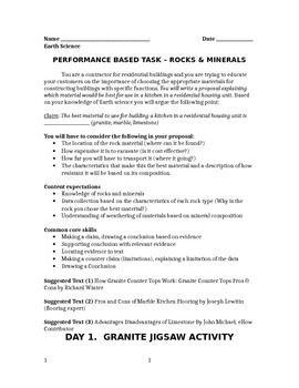 Rocks-Minerals Performance Task Activity (Claim, Counter Claim, Citing Evidence)